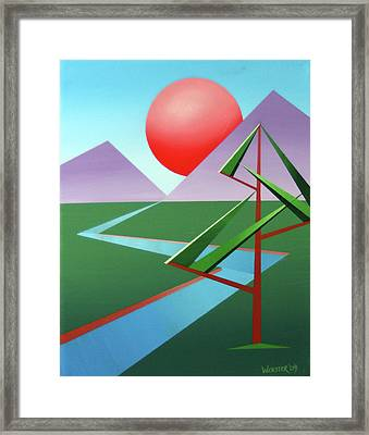 Planet X With Tree Abstract Landscape Painting Framed Print by Mark Webster