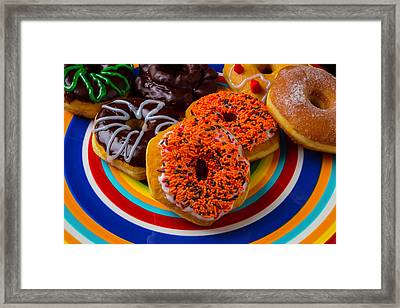 Plate Of Donuts Framed Print by Garry Gay