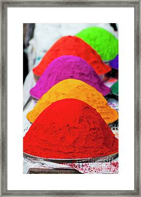 Plates Of Coloured Powder Framed Print by Tim Gainey