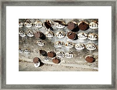 Plates With Numbers Framed Print by Carlos Caetano