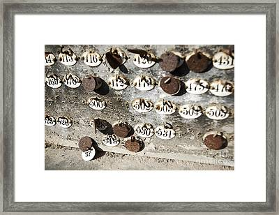 Plates With Numbers II Framed Print by Carlos Caetano