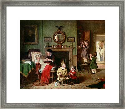 Playing At Doctors Framed Print by Frederick Daniel Hardy