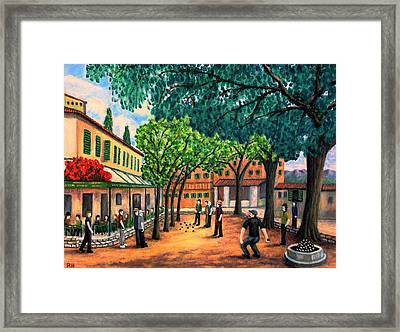 Playing Boules In St Paul De Vence Framed Print by Ronald Haber