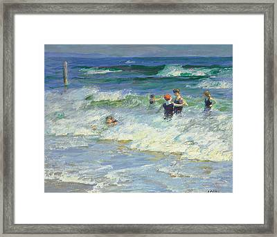 Playing In The Surf Framed Print by Edward Henry Potthast
