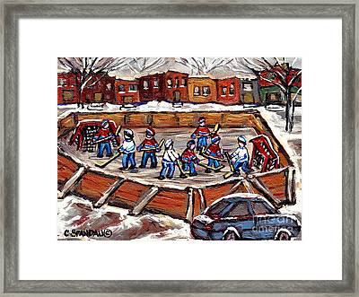 Playoff Time At The Local Hockey Rink Montreal Winter Scenes Paintings Best Canadian Art C Spandau Framed Print by Carole Spandau