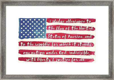 Pledge Of Allegiance American Flag Framed Print by Mindy Sommers