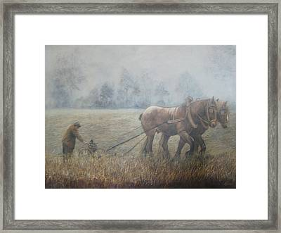 Plowing It The Old Way Framed Print by Donna Tucker