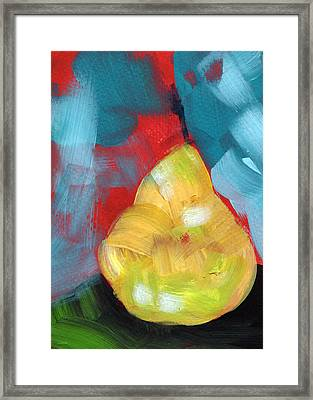 Plump Pear- Art By Linda Woods Framed Print by Linda Woods