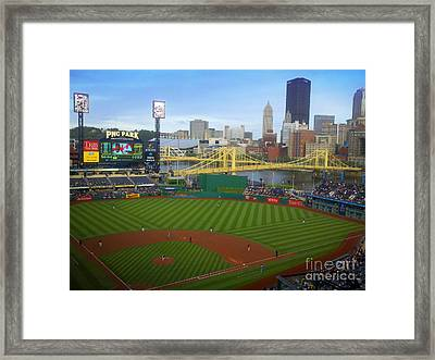 Pnc Park Pittsburgh Pirates Ball Field And Skyline Framed Print by Shelly Weingart