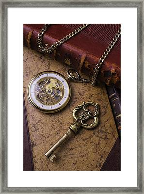 Pocket Watch And Old Key Framed Print by Garry Gay