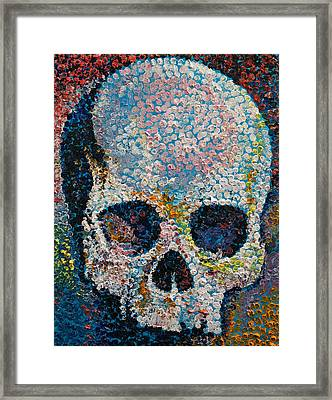 Pointillism Skull Framed Print by Michael Creese