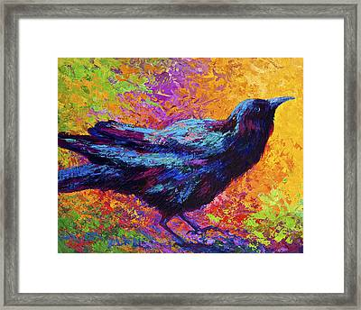 Poised - Crow Framed Print by Marion Rose