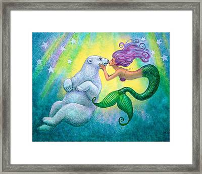 Polar Bear Kiss Framed Print by Sue Halstenberg