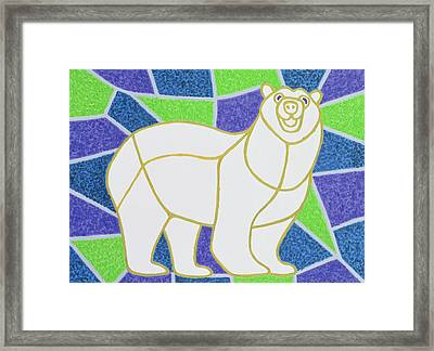 Polar Bear On Stained Glass Framed Print by Pat Scott