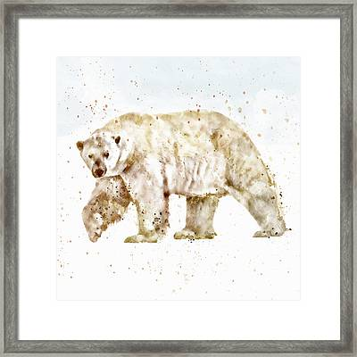 Polar Bear Watercolor Framed Print by Marian Voicu