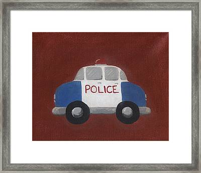 Police Car Nursery Art Framed Print by Katie Carlsruh