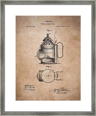 Police Lantern Patent Framed Print by Dan Sproul