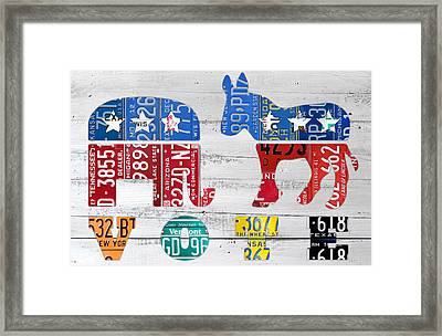 Political Party Election Vote Republican Vs Democrat Recycled Vintage Patriotic License Plate Art Framed Print by Design Turnpike