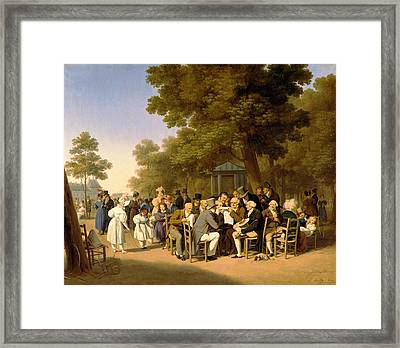 Politicians In The Tuileries Gardens Framed Print by Louis Leopold Boilly