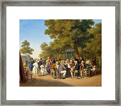 Politicians In The Tuileries Gardens  Framed Print by Louis Leopold