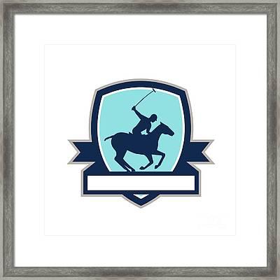 Polo Player Riding Horse Crest Retro Framed Print by Aloysius Patrimonio