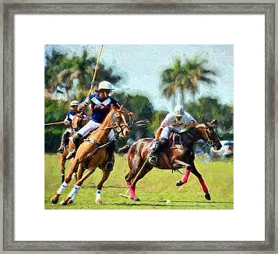 Polo Players And Ponies Framed Print by Elaine Plesser
