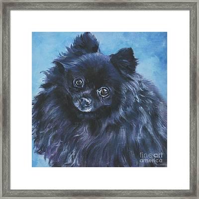 Pomeranian Black Framed Print by Lee Ann Shepard