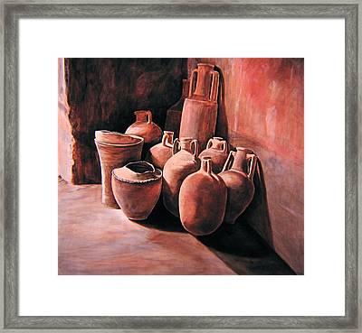 Pompeii - Jars Framed Print by Keith Gantos