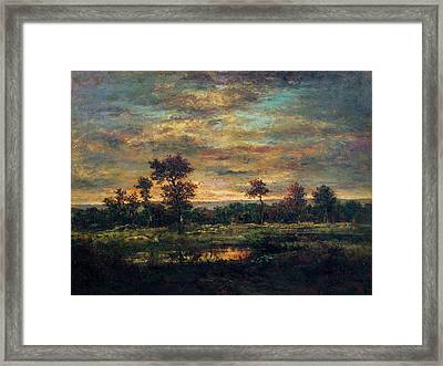 Pond At The Edge Of A Wood Framed Print by Theodore Rousseau