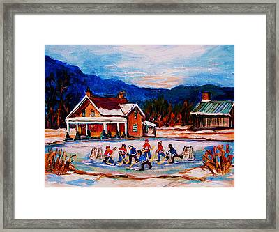 Pond Hockey Framed Print by Carole Spandau