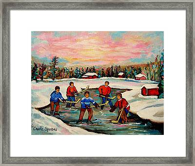 Pond Hockey Countryscene Framed Print by Carole Spandau