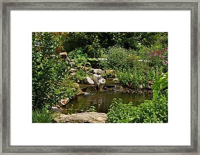 Pond In The Garden Framed Print by Sandy Keeton