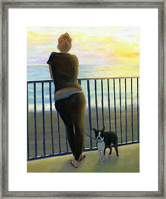 Pondering The Pacific Framed Print by Karyn Robinson