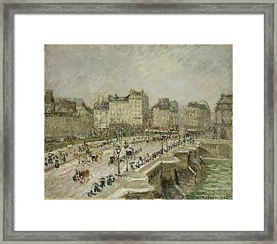 Pont Neuf Snow Effect Framed Print by Camille Pissarro