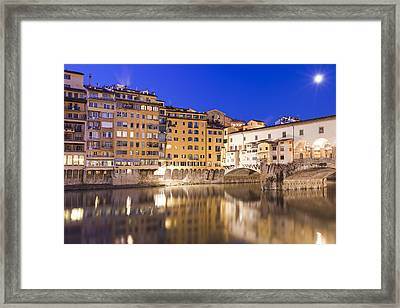 Ponte Vecchio At Night Framed Print by Andre Goncalves