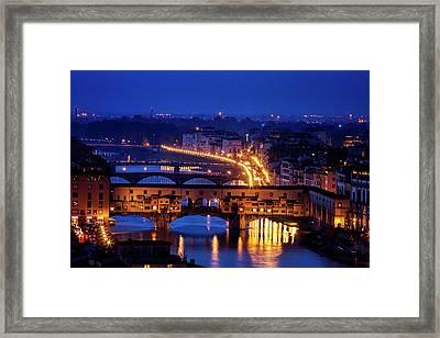 Ponte Vecchio At Twilight Framed Print by Andrew Soundarajan