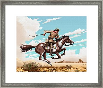 Pony Express Rider Historical Americana Painting Desert Scene Framed Print by Walt Curlee