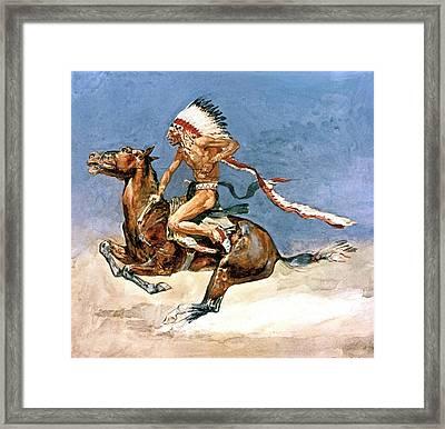 Pony War Dance Framed Print by Frederic Remington
