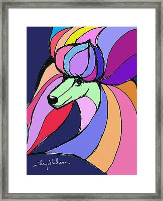 Poodle Colors Green Framed Print by Terry Chacon