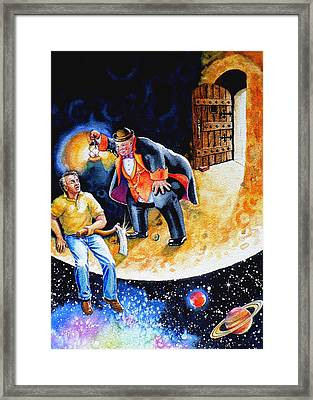 Man In The Moon Framed Print featuring the painting Pooka Hill 7 by Hanne Lore Koehler