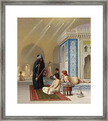 Pool In A Harem Framed Print by Jean Leon Gerome
