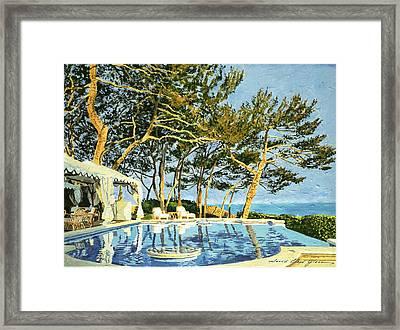 Poolside Sunset - Monaco Framed Print by David Lloyd Glover