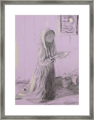 Poor Woman Praying, Pencil Sketch Framed Print by Dan Comaniciu