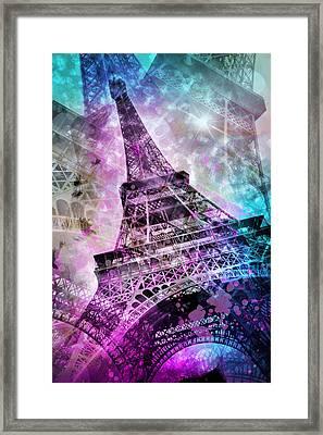 Pop Art Eiffel Tower Framed Print by Melanie Viola