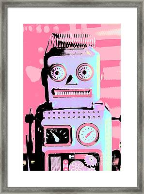 Pop Art Poster Robot Framed Print by Jorgo Photography - Wall Art Gallery