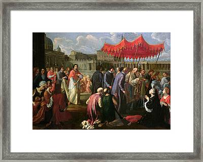 Pope Clement Xi In A Procession In St. Peter's Square In Rome Framed Print by Pier Leone Ghezzi