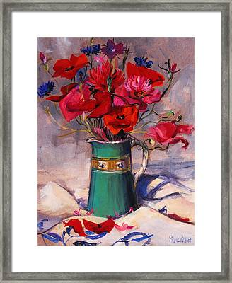 Poppies And Cornflowers In Green Jug Framed Print by Sue Wales