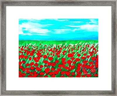 Poppy Field Abstract Framed Print by Marsha Heiken