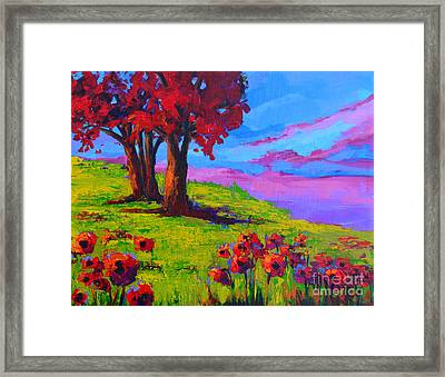 Poppy Field Modern Landscape Colorful Palette Knife Work  Framed Print by Patricia Awapara