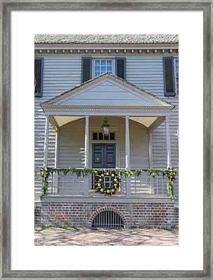 Porch Decor At The Robert King Carter House Framed Print by Teresa Mucha